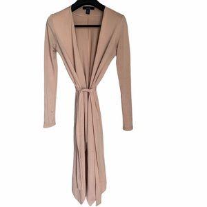 Long sleeve long blush pink cardigan with belt